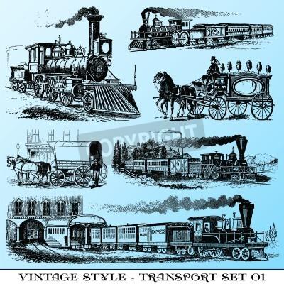 Sticker diverses illustrations vintage style - ancien jeu de transport