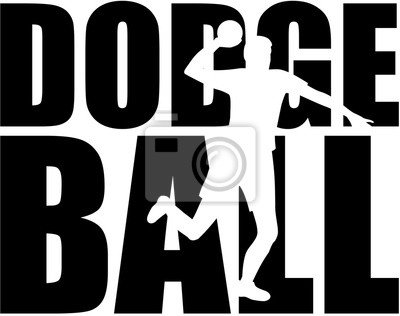 Dodgeball, mot, joueur, silhouette