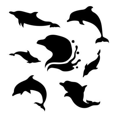 Sticker Dolphin, ensemble, vecteur