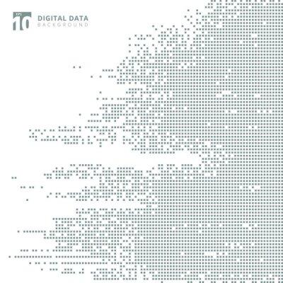 Sticker Données numériques de la technologie abstraite carré fond de pixel modèle gris.