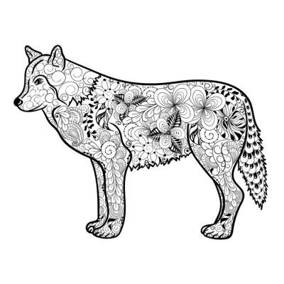 Sticker Doodle de loup