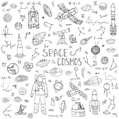 Sticker Doodle dessiné espace et cosmos ensemble illustration vectorielle icônes univers espace concept éléments fusée espace navire symboles collection système solaire planètes galaxie laide chemin astronaut
