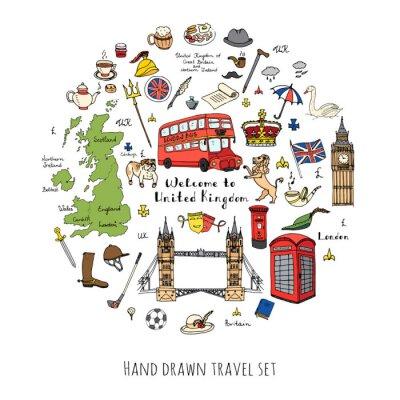 Sticker Doodle dessiné Royaume-Uni ensemble Illustration vectorielle icônes du Royaume-Uni Bienvenue aux éléments de Londres Collection de symboles britannique Thé Bus Equitation Golf Couronne Bière Lion Bull