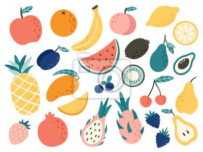 Sticker Doodle fruits. Natural tropical fruit, doodles citrus orange and vitamin lemon. Vegan kitchen apple hand drawn vector illustration