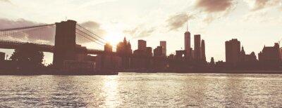 Doré, Coucher soleil, Manhattan, Horizon, NYC, USA