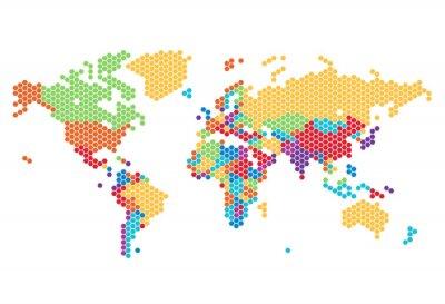 Sticker Dotted carte mondiale des points hexagonaux