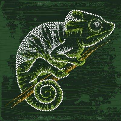 Sticker Dotted Chameleon assis sur la branche