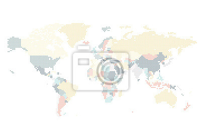 Dotted, mondiale, carte, carré, points