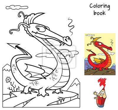 Sticker Dragon Drôle Livre De Coloriage Illustration Vectorielle De
