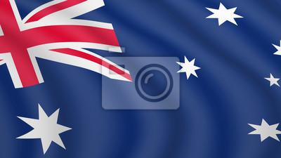 Drapeau agitant réaliste de l'Australie. Drapeau national actuel du Commonwealth d'Australie. Illustration du mensonge ondulé drapeau ombragé du pays de l'Australie. Fond avec le drapeau australien. 3