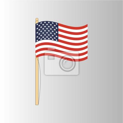 Drapeau américain sur un fond gris