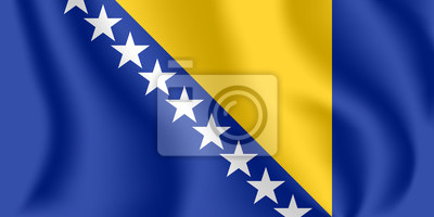 Drapeau de Bosnie-Herzégovine (B & H). Drapeau agitant réaliste de Bosnie-Herzégovine. Drapeau flottant texturé de tissu de Bosnie.