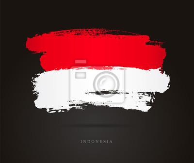 Sticker Drapeau de l'Indonésie. Coups de pinceau