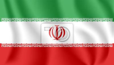 Drapeau de l'Iran. Drapeau agitant réaliste de la République islamique d'Iran. Tissu texturé flottant drapeau de la Perse.
