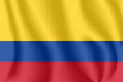 Drapeau de la Colombie. Drapeau agitant réaliste de la République de Colombie. Tissu drapeau flottant texturé de la Colombie.