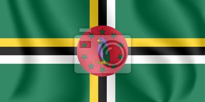 Drapeau de la Dominique. Drapeau agitant réaliste du Commonwealth de la Dominique. Tissu texturé qui coule le drapeau de la Dominique.