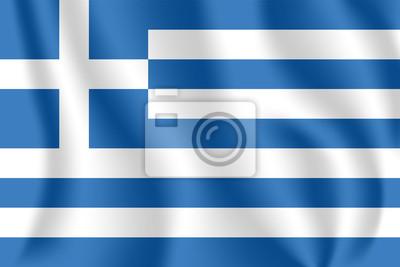 Drapeau de la Grèce. Drapeau agitant réaliste de la République hellénique. Tissu drapeau flottant texturé de Hellas.