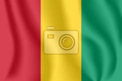 Drapeau de la Guinée. Drapeau ondulant réaliste de la République de Guinée. Drapeau flottant texturé de tissu de Guinée-Conakry.