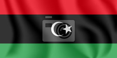 Drapeau de la Libye. Drapeau agitant réaliste de l'État de Libye. Drapeau fluide texturé de tissu de la Libye.