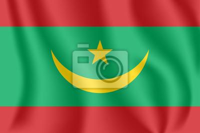 Drapeau de la Mauritanie. Drapeau agitant réaliste de la République islamique de Mauritanie. Tissu texturé flottant drapeau de la Mauritanie.