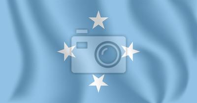 Drapeau de la Micronésie Drapeau agitant réaliste des États fédérés de Micronésie (FSM). Drapeau flottant texturé de tissu des États fédérés de Micronésie.