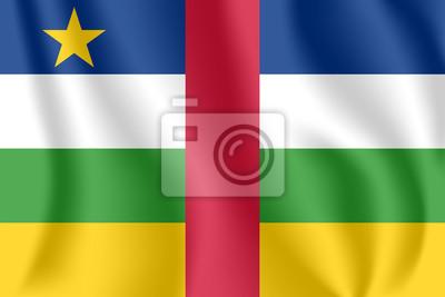 Drapeau de la République centrafricaine (RCA). Drapeau agitant réaliste de la République centrafricaine. Drapeau fluide texturé de tissu de République centrafricaine.