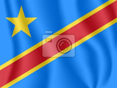 Drapeau de la République démocratique du Congo. Drapeau ondulant réaliste de la RD Congo (RDC). Drapeau flottant texturé de tissu du Congo-Kinshasa.