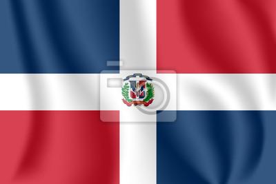 Drapeau de la République dominicaine. Drapeau agitant réaliste de la République dominicaine. Tissu drapeau flottant texturé de la République dominicaine.