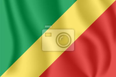 Drapeau de la République du Congo. Drapeau agitant réaliste du Congo-Brazzaville. Tissu drapeau flottant texturé de République du Congo.