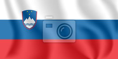 Drapeau de la Slovénie. Drapeau agitant réaliste de la République de Slovénie. Tissu drapeau flottant texturé de la Slovénie.
