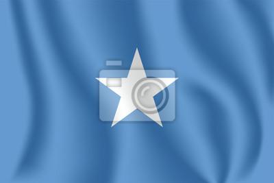 Drapeau de la Somalie. Drapeau agitant réaliste de la République fédérale de Somalie. Tissu drapeau flottant texturé de la Somalie.