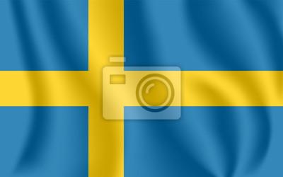 Drapeau de la Suède. Drapeau agitant réaliste du Royaume de Suède. Tissu drapeau flottant texturé de la Suède.