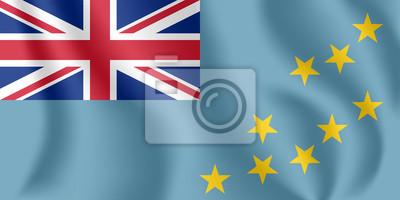 Drapeau de Tuvalu. Drapeau agitant réaliste des îles Ellice. Tissu drapeau flottant texturé de Tuvalu.