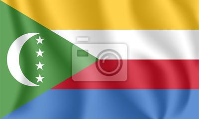 Drapeau des Comores Drapeau agitant réaliste de l'Union des Comores. Drapeau coulant texturé de tissu des Comores.