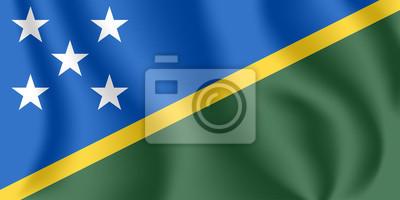 Drapeau des Îles Salomon. Drapeau agitant réaliste des îles Salomon. Drapeau flottant texturé de tissu des Îles Salomon.