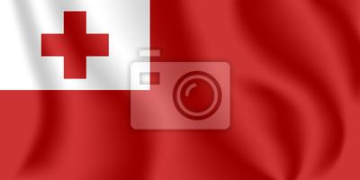 Drapeau des Tonga Drapeau agitant réaliste du Royaume des Tonga. Tissu drapeau flottant texturé de Tonga.