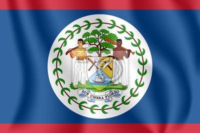 Drapeau du Belize. Drapeau agitant réaliste de Belize. Drapeau flottant texturé de tissu de Belize.