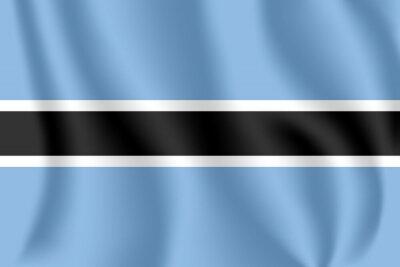 Drapeau du Botswana. Drapeau agitant réaliste de la République du Botswana. Drapeau flottant texturé de tissu du Botswana.