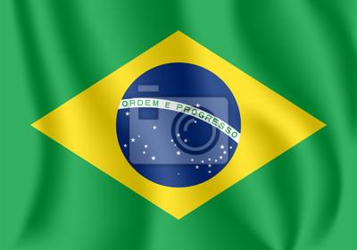 Drapeau du Brésil. Drapeau agitant réaliste de la République fédérative du Brésil. Tissu drapeau flottant texturé du Brésil.