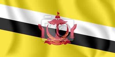 Drapeau du Brunei Drapeau agitant réaliste de la nation de Brunei, la demeure de la paix. Drapeau flottant texturé de tissu du Brunei.