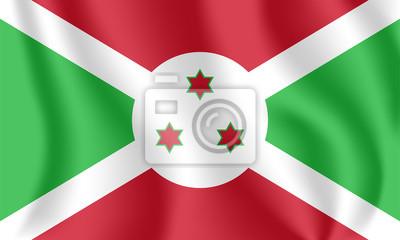 Drapeau du Burundi. Drapeau agitant réaliste de la République du Burundi. Tissu drapeau flottant texturé du Burundi.