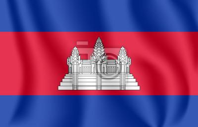 Drapeau du Cambodge Drapeau agitant réaliste du Royaume du Cambodge. Drapeau flottant texturé de tissu du Kampuchéa.