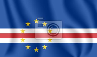 Drapeau du Cap-Vert. Drapeau agitant réaliste de la République du Cabo Verde. Drapeau flottant texturé de tissu de Cabo Verde.