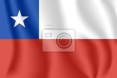 Drapeau du Chili. Drapeau agitant réaliste de la République du Chili. Tissu drapeau flottant texturé du Chili.