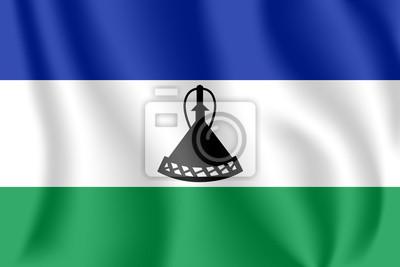 Drapeau du Lesotho. Drapeau agitant réaliste du Royaume du Lesotho. Drapeau flottant texturé de tissu du Lesotho.