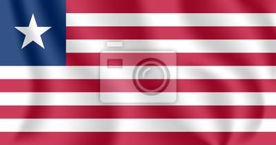 Drapeau du Libéria. Drapeau agitant réaliste de la République du Libéria. Drapeau flottant texturé de tissu du Libéria.