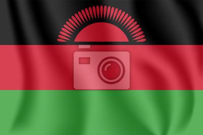 """Drapeau du Malawi. Drapeau agitant réaliste de la République du Malawi. Drapeau flottant texturé de tissu de """"le coeur chaud de l'Afrique""""."""