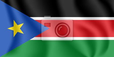 Drapeau du Soudan du Sud. Drapeau agitant réaliste de la République du Soudan du Sud. Drapeau flottant texturé de tissu du Soudan du Sud.