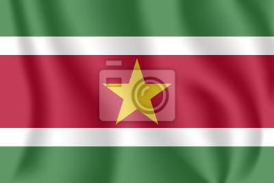 Drapeau du Suriname. Drapeau agitant réaliste de la République du Suriname. Drapeau flottant texturé de tissu du Suriname.