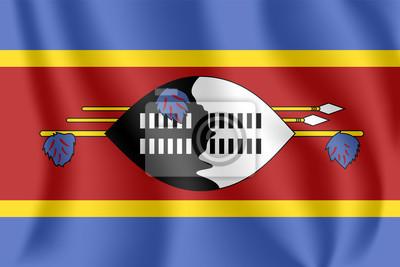Drapeau du Swaziland. Drapeau agitant réaliste du Royaume du Swaziland. Drapeau flottant texturé de tissu d'Eswatini.